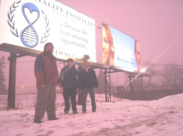 Immortality Institute indefinite life extension billboard with awesome purple sky