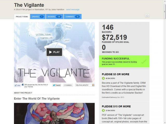The Vigilante kickstarter project pledge success